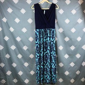 Turquoise & Navy Print Sleeveless Maxi Dress